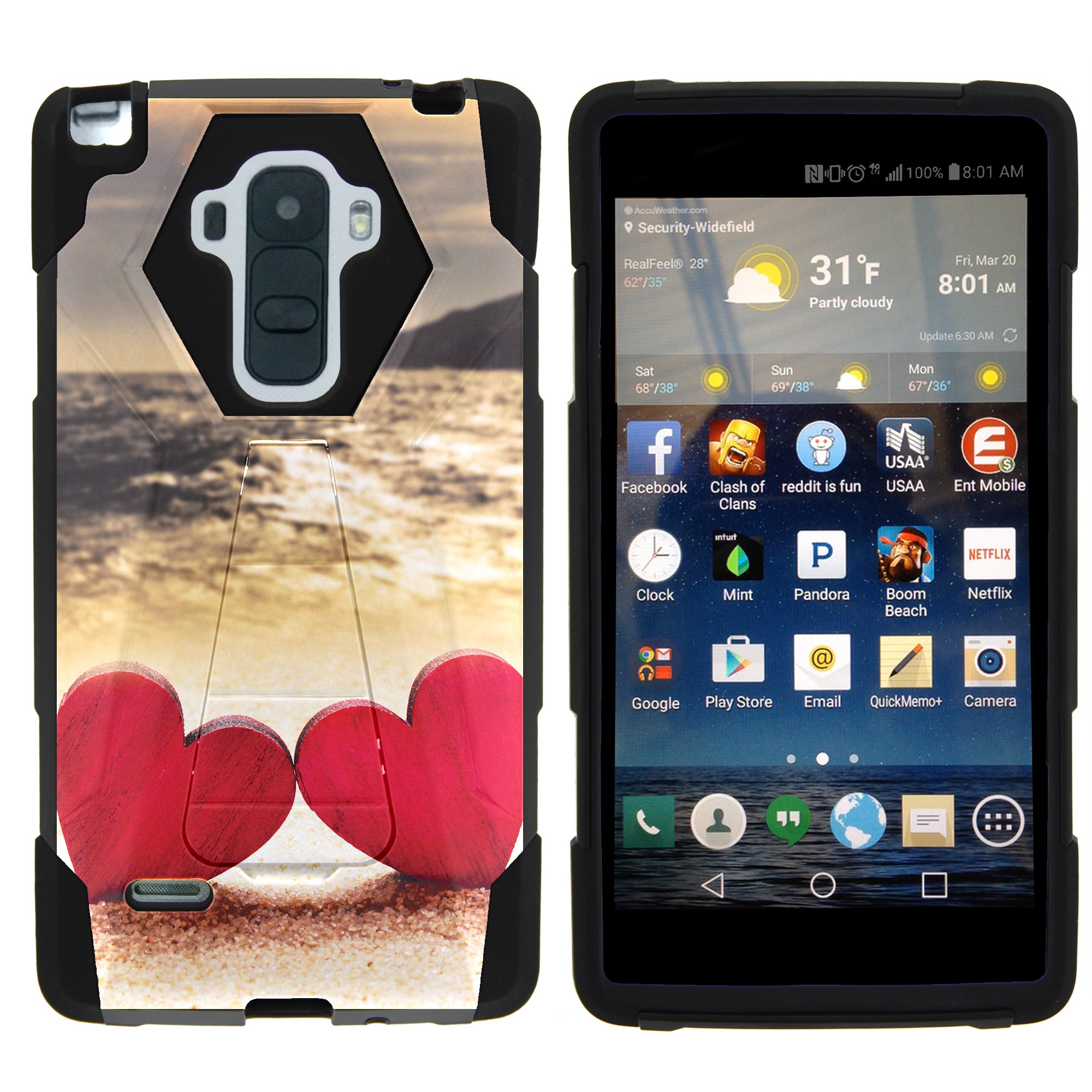 TurtleArmor ®   For LG G Stylo   LG G4 Stylus [Dynamic Shell] Dual Layer Hybrid Silicone Hard Shell Kickstand Case - Red Hearts Love