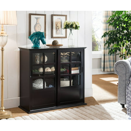 (Nolan Espresso Wood Contemporary Curio Bookcase Display Storage China Cabinet With Glass Sliding Doors)