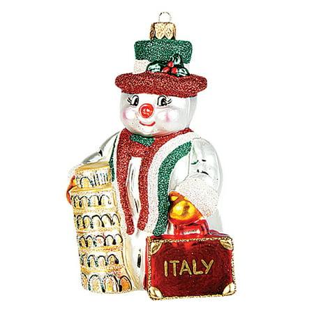 Christmas Italian (Italian Snowman Polish Blown Glass Christmas Ornament Italy Tree Decoration )