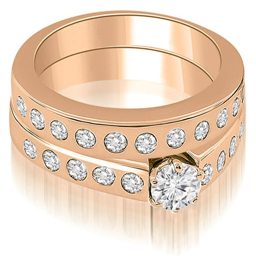 """1.80 cttw. 14K Rose Gold Round Cut Diamond Bridal Set (I1, H-I)"""