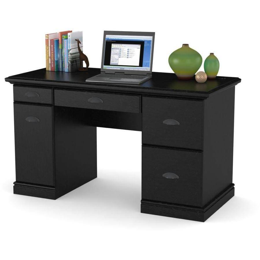 Black Computer Desk Workstation Table Modern Executive Furniture Office Home