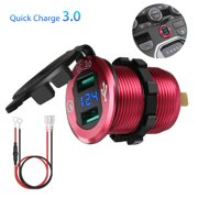 Quick Charge 3.0 Car Charger, 12V/24V 36W Waterproof Dual QC3.0 USB Fast Charger Socket Power Outlet with LED Digital Voltmeter for Marine, Boat, Motorcycle, Truck, Golf Cart and More