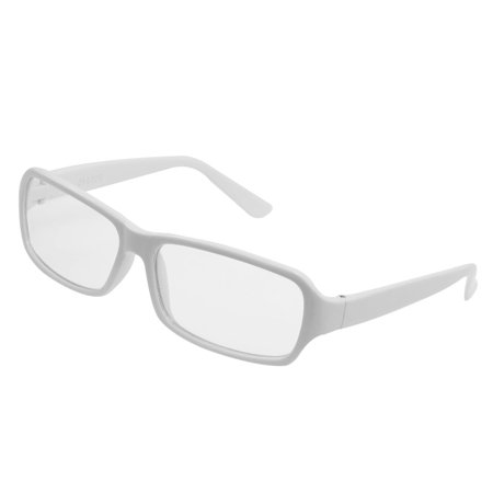White Rims Plastic Arms Clear Lens Plano Glasses for Ladies