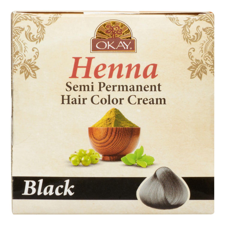 Okay Henna Semi Permanent Hair Color Cream Black 17 Oz Walmart