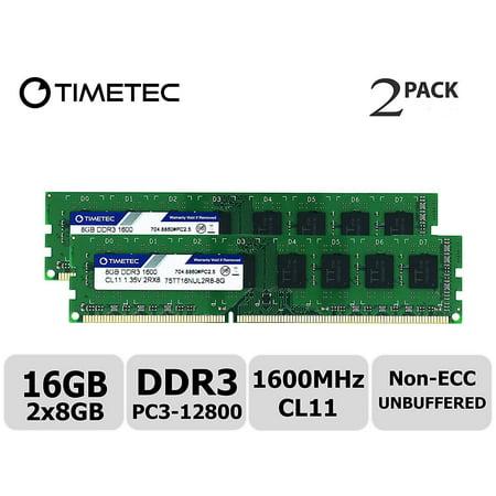 Timetec Hynix IC 16GB Kit (2x8GB) DDR3L 1600MHz PC3L-12800 Non ECC Unbuffered 1.35V/1.5V CL11 2Rx8 Dual Rank 240 Pin UDIMM Desktop Memory Ram Module Upgrade (16GB Kit