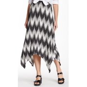Bobeau NEW Black Chevron Print Women's Small S Handkerchief Hem Skirt