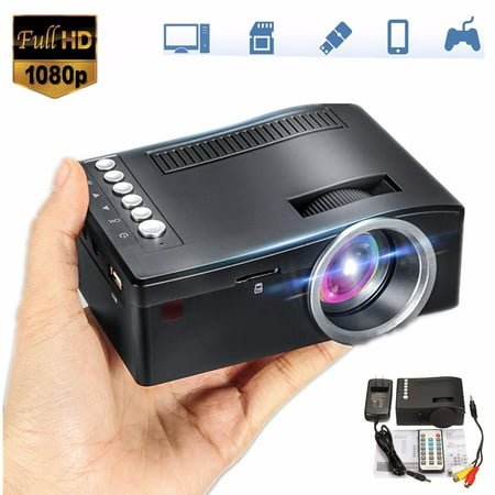 UNIC Support 1080P LCD LED Video Multimedia Mini Portable Projector with AV Cable for i Pad i Phone Android iOS Smartphone Home Cinema Theater TV Laptop Game USB TF SD HD MI TV VGA (Led Light Home Theater)