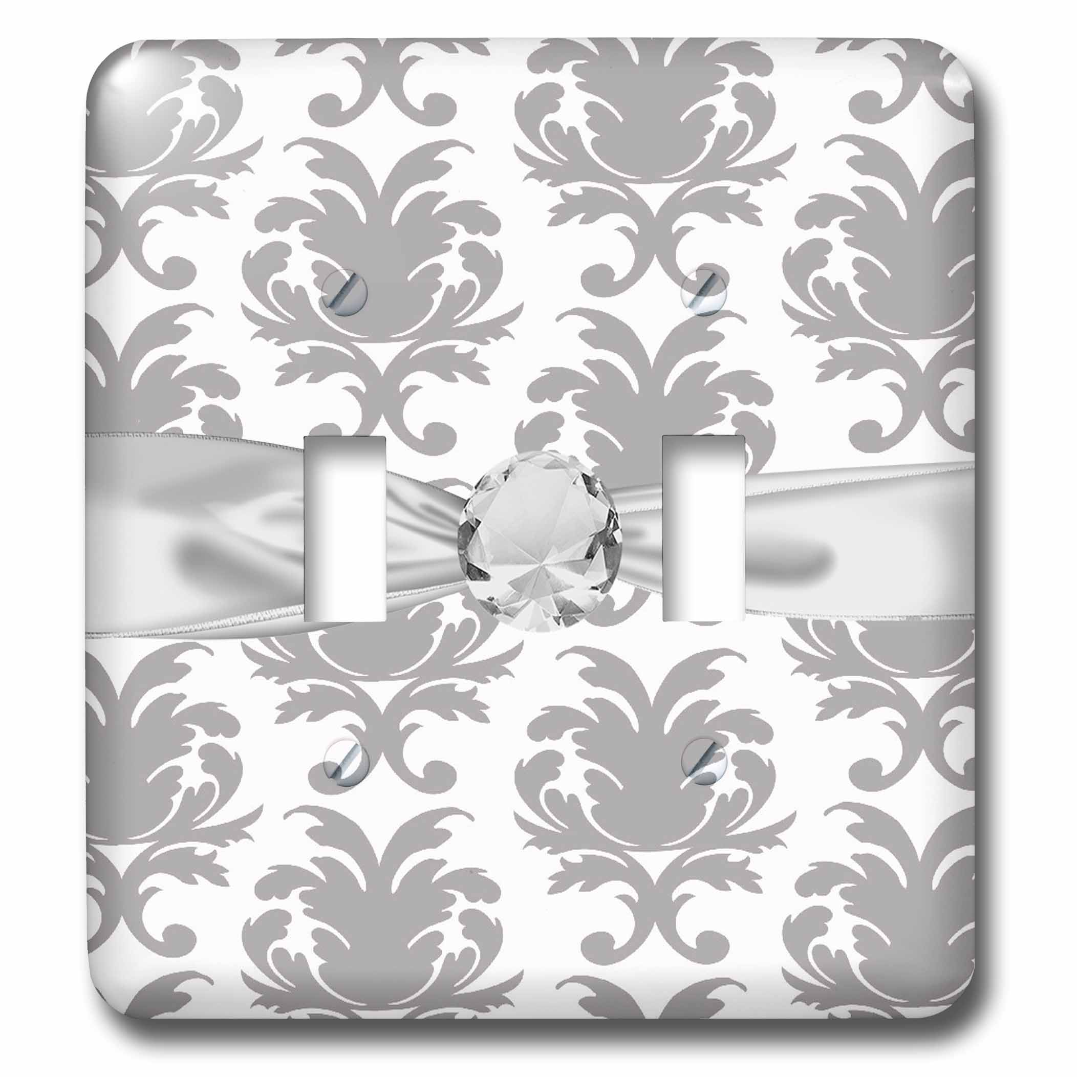 3drose Grey White Baroque Decorative Elegant Damask Pattern Faux Diamond Ribbon Double Toggle Switch Lsp 118974 2 Walmart Com Walmart Com