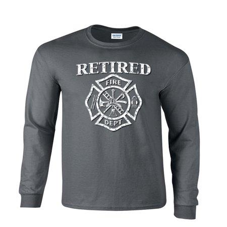 ad22675fc6 Retired Firefighter Maltese Cross distressed Long Sleeve T-Shirt