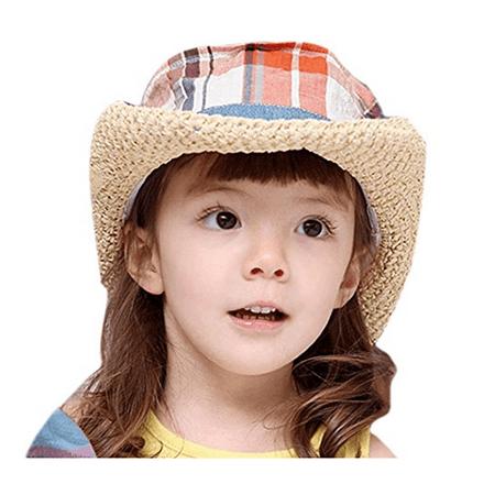 Kids Straw Hat Casual Summer Sun Visor Hat Children Checkers Pattern Hat, Orange - Kids Straw Hat