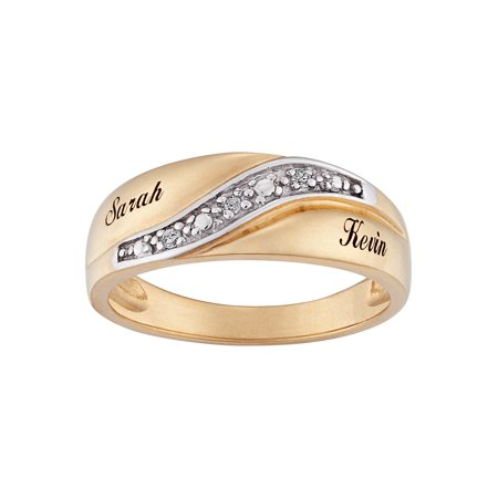 Personalized Men's Diamond Accent 10kt Gold Engraved Name Wedding Ring