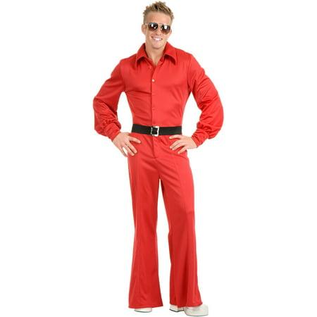 Adult Men's Red Studio 54 Disco Jumpsuit - Disco Jumpsuit
