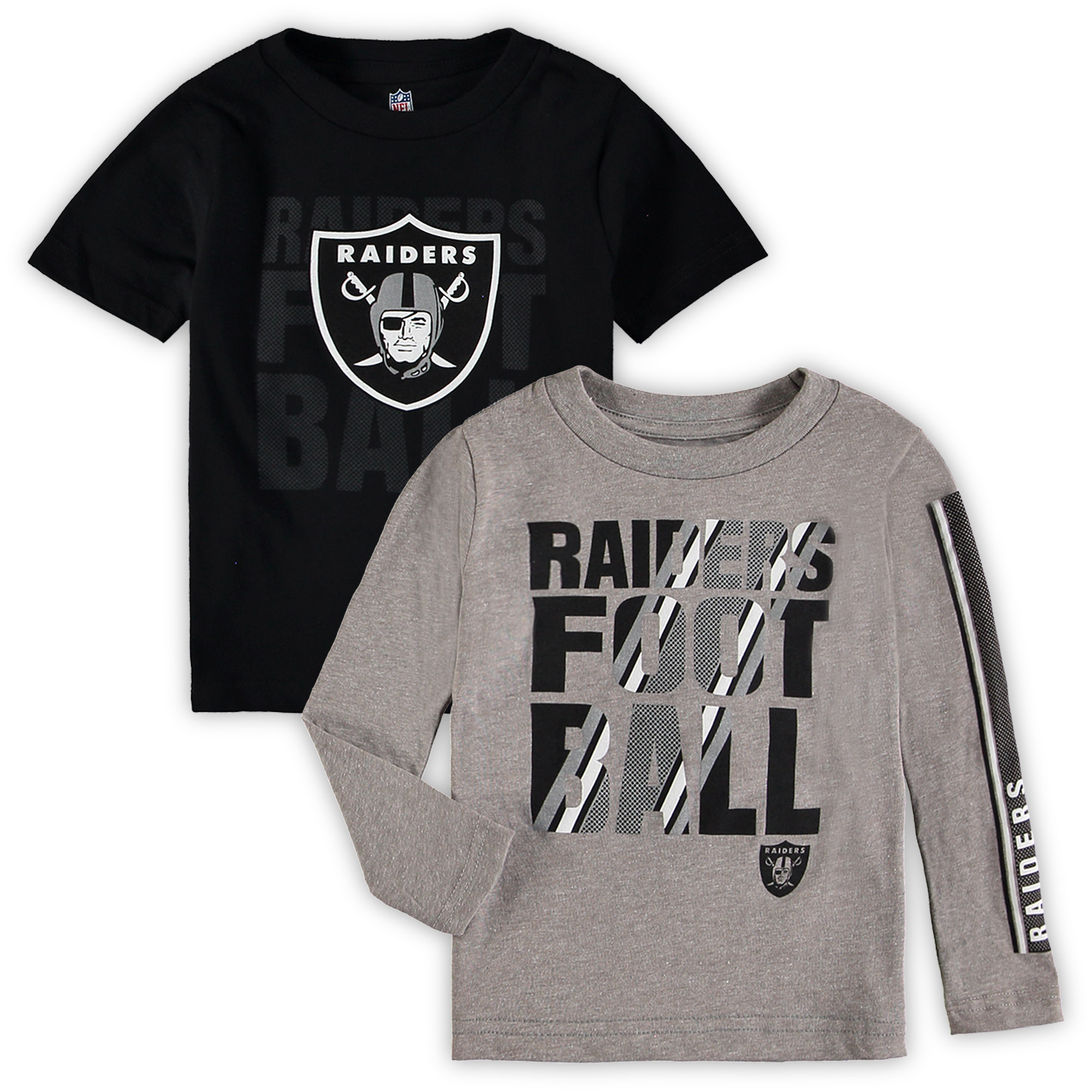 Oakland Raiders Toddler Two-Pack Playmaker Long Sleeve & Short Sleeve T-Shirt Combo - Black/Gray - 2T