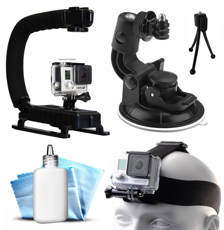 Opteka xGrip Stabilizing Action Grip Handle Handheld Holder (Black) , Car Mount+ Head Band Helmet Harness Strap Mount, Mini Tripod, Dust Removal Cleaning Care Kit for GoPro Hero4 Hero3+ Hero3, Camera