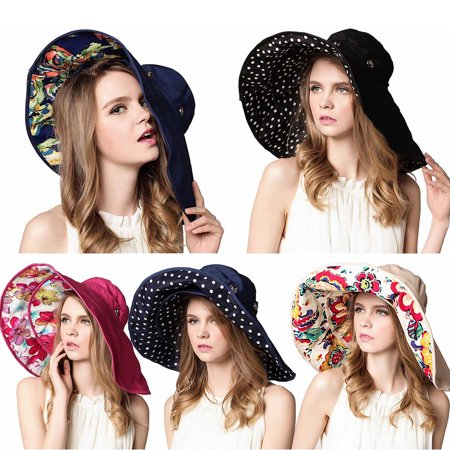 88b604569 Packable Extra Large Brim Floppy Sun Hat Reversible UPF 50+ Casual Summer  Holiday Beach Hats