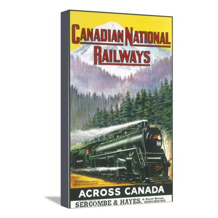 Canadian Pacific Steam Engine - Canadian National Railways Poster Showing a Steam Engine Train in Canada Stretched Canvas Print Wall Art
