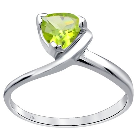- Orchid Jewelry Sterling Silver 0.55 Ctw Peridot Trillion Cut Solitaire Ring Size -7