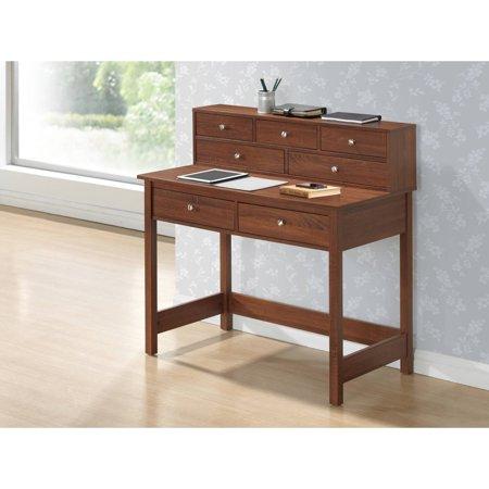 Techni Mobili Elegant Writing Desk with Storage and Hutch, Oak - Oak Writing Desk