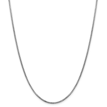 14k White Gold 1.75mm Round Link Box Chain Necklace 18 Inch Pendant Charm Fine Jewelry For Women Gifts For Her - image 1 of 9