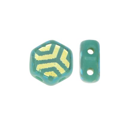 Czech Glass Honeycomb Beads, 2-Hole Hexagon 6mm, 30 Pcs, Laser Etched Web Design Green Turquoise AB Design Turquoise Fused Glass
