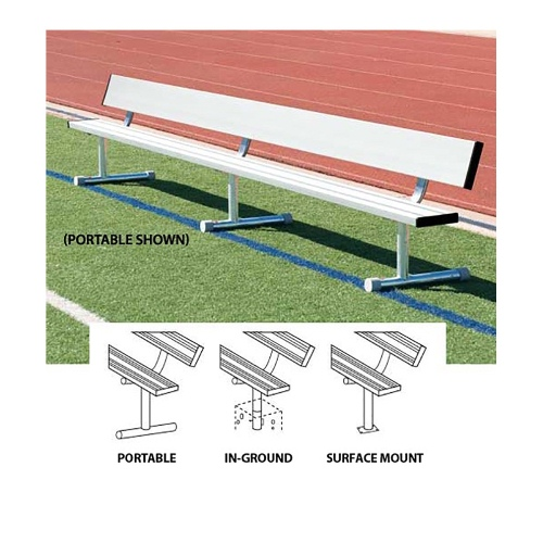 Aluminum Players Bench, Surface Mounted 21' with Backrest