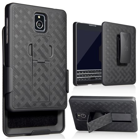 Blackberry Belt Case (Blackberry Passport Holster Case, Nakedcellphone Black Kickstand Cover + Belt Clip Combo for Blackberry Passport (ONLY FOR AT&T VERSION, MODEL SQW100-3))
