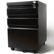 Pemberly Row 3 Drawer Metal Mobile File Cabinet with Lock in Black