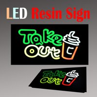 """Lighted LED Resin Window Sign Take Out Food Drink Non Neon Display 17"""" x 9"""" togo Restaurant Business"""