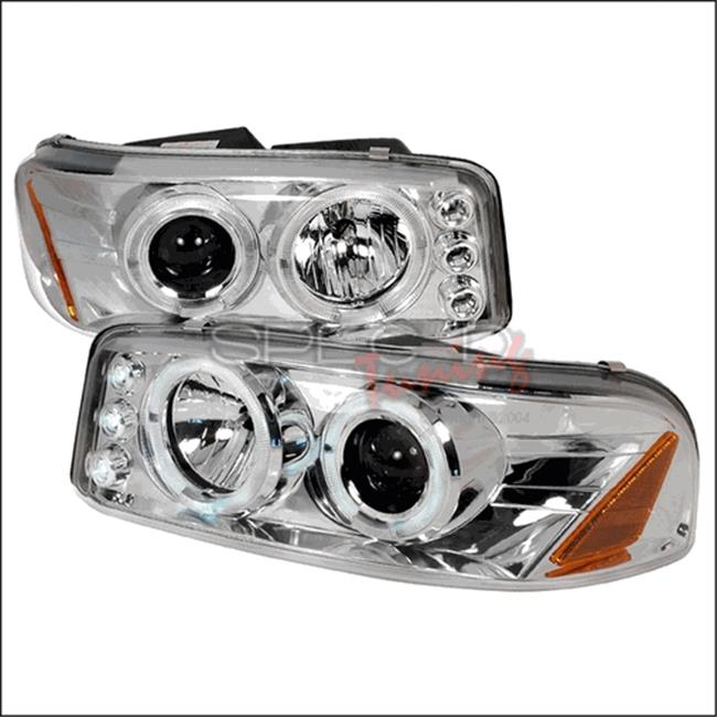 Spec-D Tuning 2LHP-DEN00-TM Halo LED Projector Headlights for 00 to 06 GMC Denali, Chrome - 10 x 19 x 23 in.