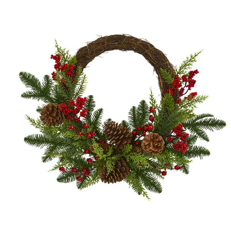 Nearly Natural 22in. Mixed Pine and Cedar with Berries and Pine Cones Artificial Wreath Highlight your home with seasonal accenting with the help of this artificial wreath made from year-round evergreens and mixed pine foliage, beautifully highlighted throughout with realistic pinecones and bright red holly berries. Measuring 22 around, this silk wreath will easily evoke the holiday spirit wherever displayed. About Nearly Natural Inc. - For over 75 years, Nearly Natural Inc. has been providing conscientious consumers with beautiful alternatives to natural decorations. Employed and advised by naturalists who understand the live plant world, Nearly Natural is able to recreate the most realistic-looking decorative items for homes, offices, and businesses. Driven by a true commitment to customer service, attention to detail, and natural philosophy, Nearly Natural strives to bring customers the most beautiful, unique, and striking faux plants and floral on the market.