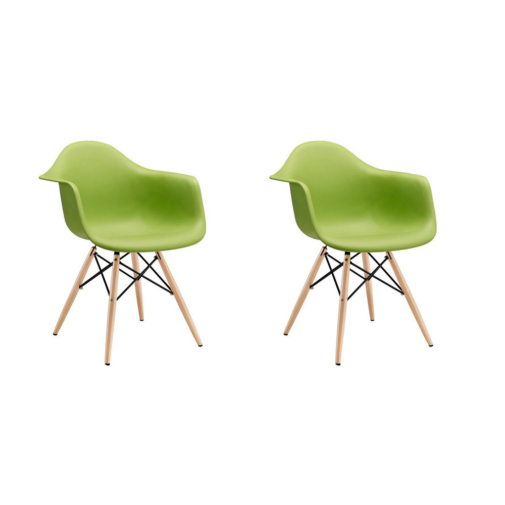 Mid Century Modern Eames Herman Miller Style Molded Arm Chair Dowel Green (Set of 2)