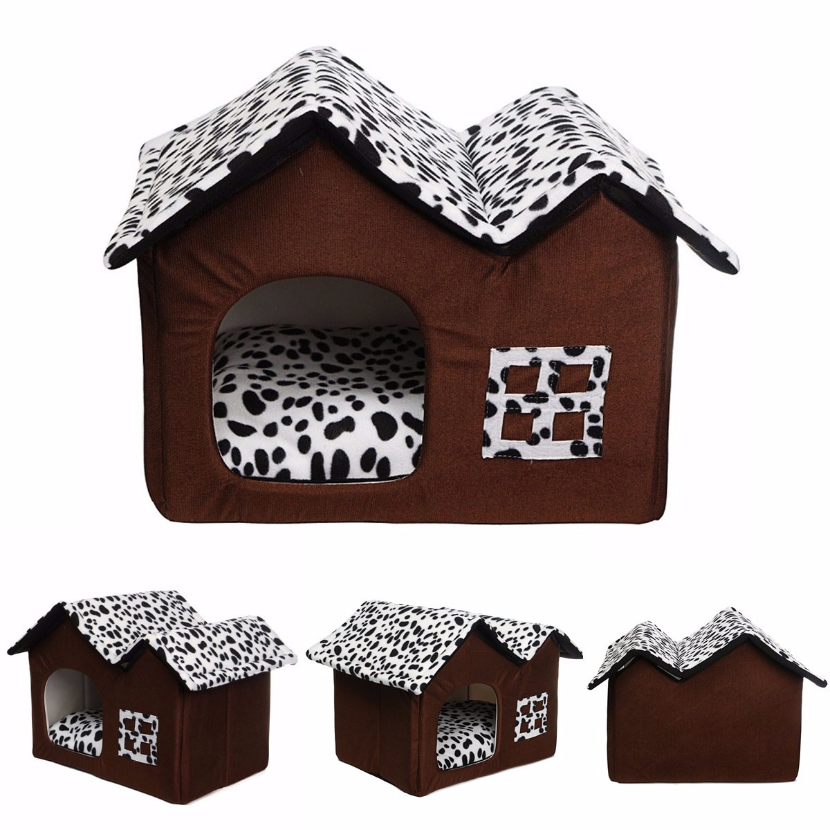 Soft Dog Indoor House Double Room Cat Kennel Pet Puppy Bed House Winter Warm Walmart Com Walmart Com
