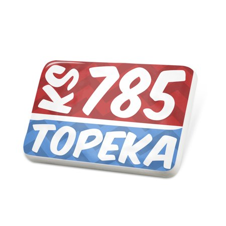 Porcelein Pin 785 Topeka, KS red/blue Lapel Badge – NEONBLOND - Cupcakes Topeka Ks