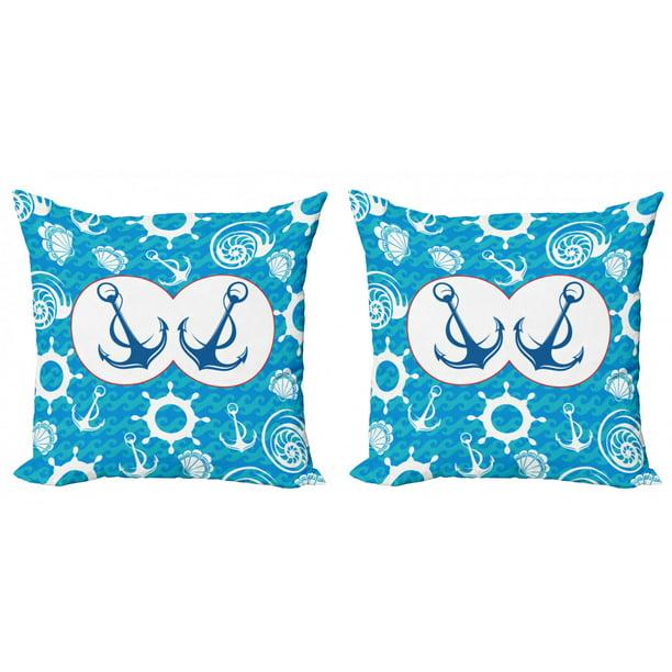 Nautical Throw Pillow Cushion Cover Pack Of 2 Sea Theme Doodle Nostalgia Sailboat Seaman Adventurous Travels Lifestyle Zippered Double Side Digital Print 4 Sizes Blue Turquoise White By Ambesonne Walmart Com Walmart Com