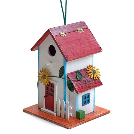 Hand-painted Wooden Birdhouse with Flowers Outdoor Garden Decor by Bo (Garden Treasure Birdhouse)