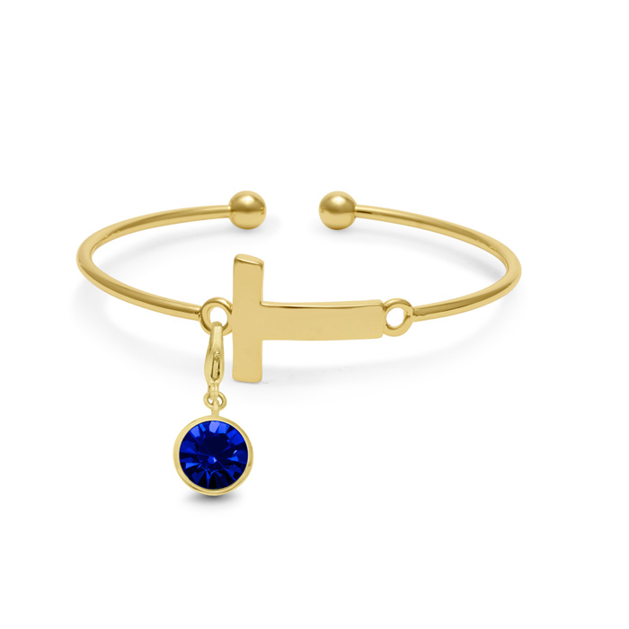 Initial Bangle Bracelet With Sapphire Crystal Birthstone, For September Babies by SuperJeweler