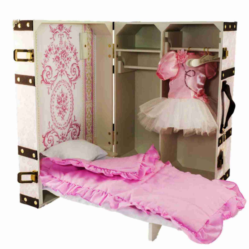 "18"" Doll Clothes Storage Trunk Suitcase Doll Bed Bedding Hangers Fits 18"" Doll Furniture Pk by The Queen's Treasures"