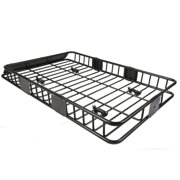 "64"" Universal Black Roof Rack Cargo with Extension Car Top Luggage Holder Carrier Basket SUV"