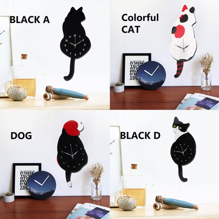 Modern Wall Clock Swinging Tail Animal Dog/Cat Shaped Modern Bedroom Home Decoration (Tail Wagging Dog Clock)