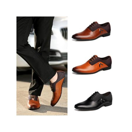 New Fashion Men Business Dress Formal Leather Shoes Flat Oxfords Loafers Lace up Pointy (Men Leather Fashion)