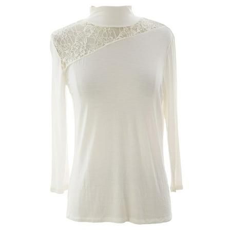 August Silk Women's  Lace Inset Funnel Neck (Silk Shirt Top)