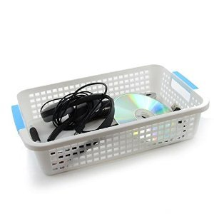 Desk Organizer Basket Bin, White With Blue Handles, Office Supplies, Desk Organization Single Pack