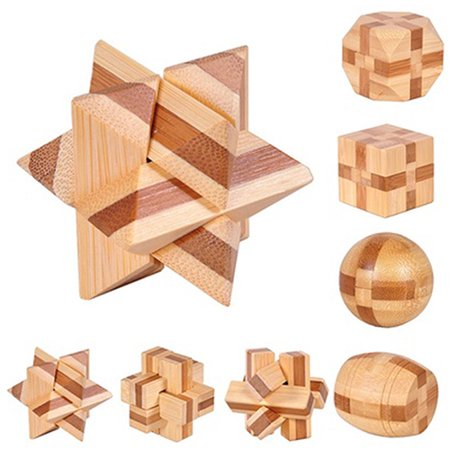 Kid Brain Teasers (Heepo Wooden Kongming Lock Brain Teaser Puzzle Children Adults Educational Game)