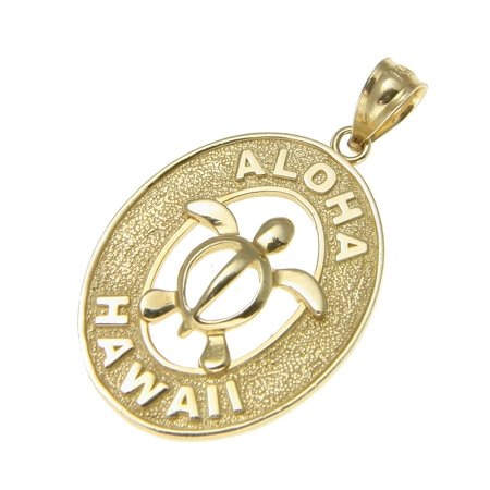 14k solid yellow gold oval Hawaiian baby honu turtle aloha Hawaii -