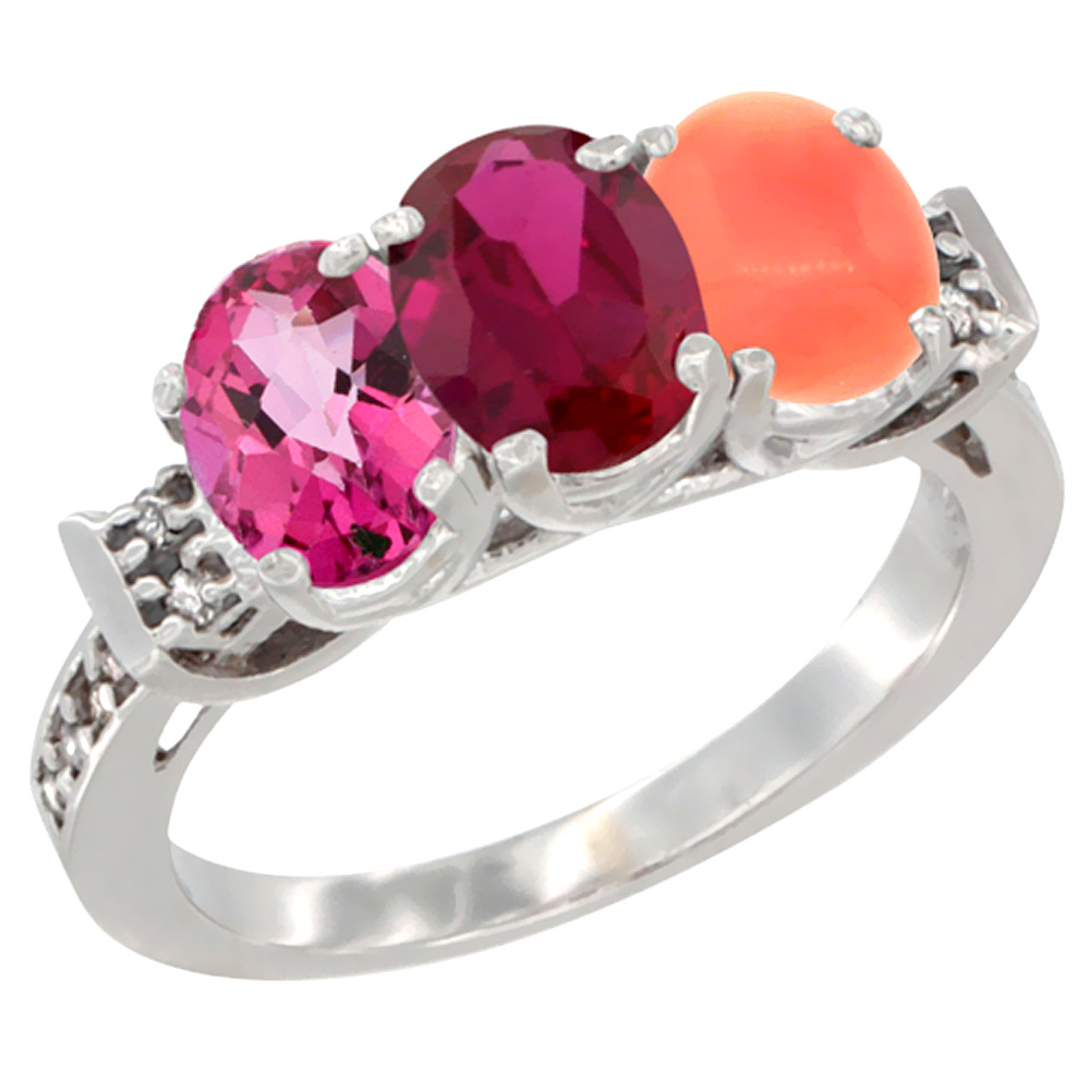 10K White Gold Natural Pink Topaz, Enhanced Ruby & Natural Coral Ring 3-Stone Oval 7x5 mm Diamond Accent, sizes 5 10 by WorldJewels