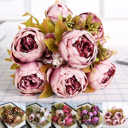 Holiday Clearance Vintage Artificial Peony Silk Flowers Bouquet for Wedding Party Office Hotel and Home Decoration