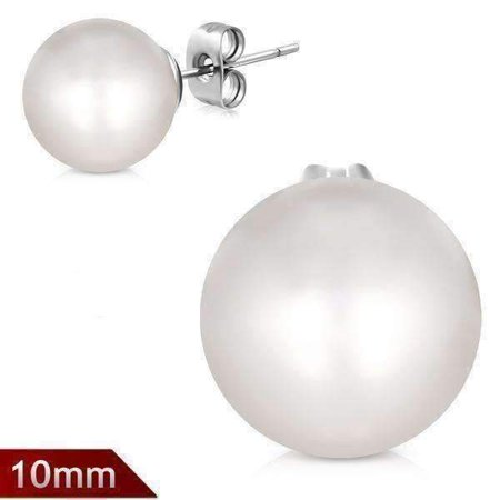 ON SALE - Classic White Pearl Bead Solitaire Stud Earrings on Stainless Steel 10mm / Classic White