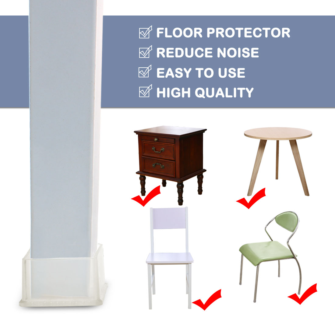 """Clear Chair Leg Caps End Tip Feet Furniture Protector 3pcs 2.36""""x2.36"""" (60x60mm) - image 2 of 7"""