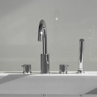 Jado Borma Polished Chrome Roman Tub Faucet w/ Hand Shower 814084.100