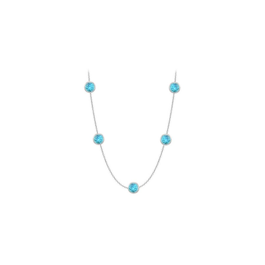 LoveBrightJewelry By The Yard Blue Topaz Station Necklace in 14K white gold Fifty Carat with 36 Inch Length by Love Bright